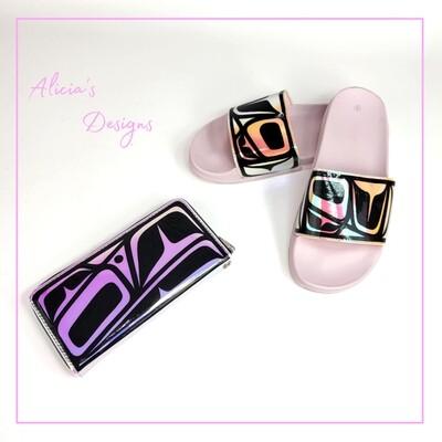 Iridescent Sandals & Wallet Set
