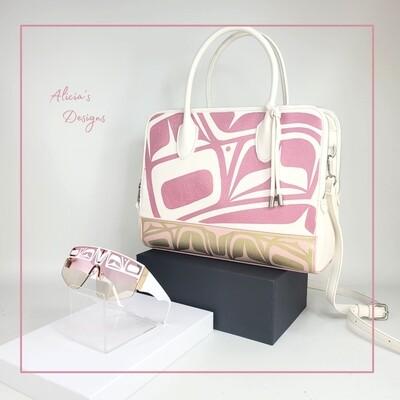 Large White & Pink Purse