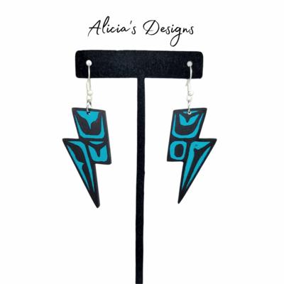 Lightning Bolt Earrings - Turquoise