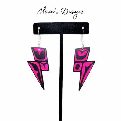 Lightning Bolt Earrings - Hot Pink