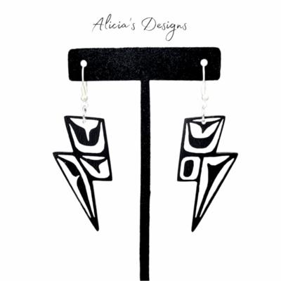 Lightning Bolt Earrings - white