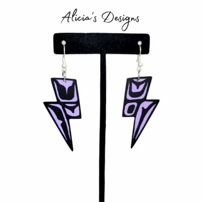 Lightning Bolt Earrings - Lavender