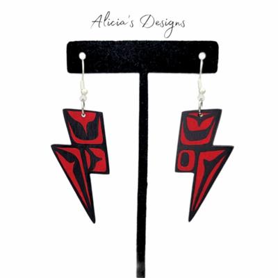 Lightning bolt Earrings - Red