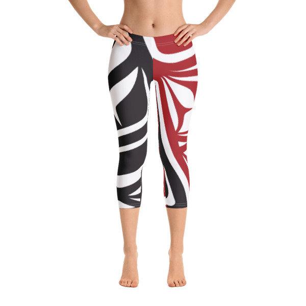 Capri Leggings, Red & Black