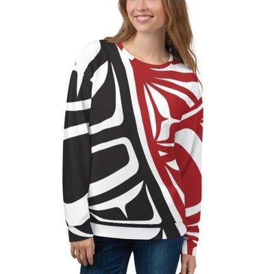 Unisex Sweatshirt, Black & Red