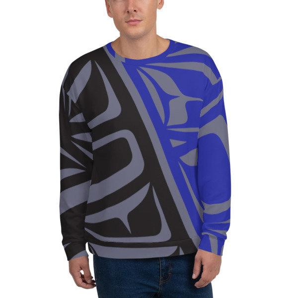 Unisex Sweatshirt, Royal Blue & Grey