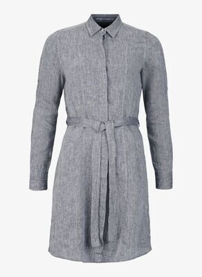 W Linen Flare Long Shirt, Dk Navy Melange