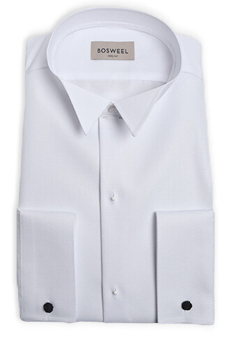 Piquéskjorte med knækflip, hvid