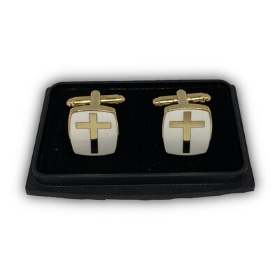 Manchetknapper med kors guld/hvid 2. sortering