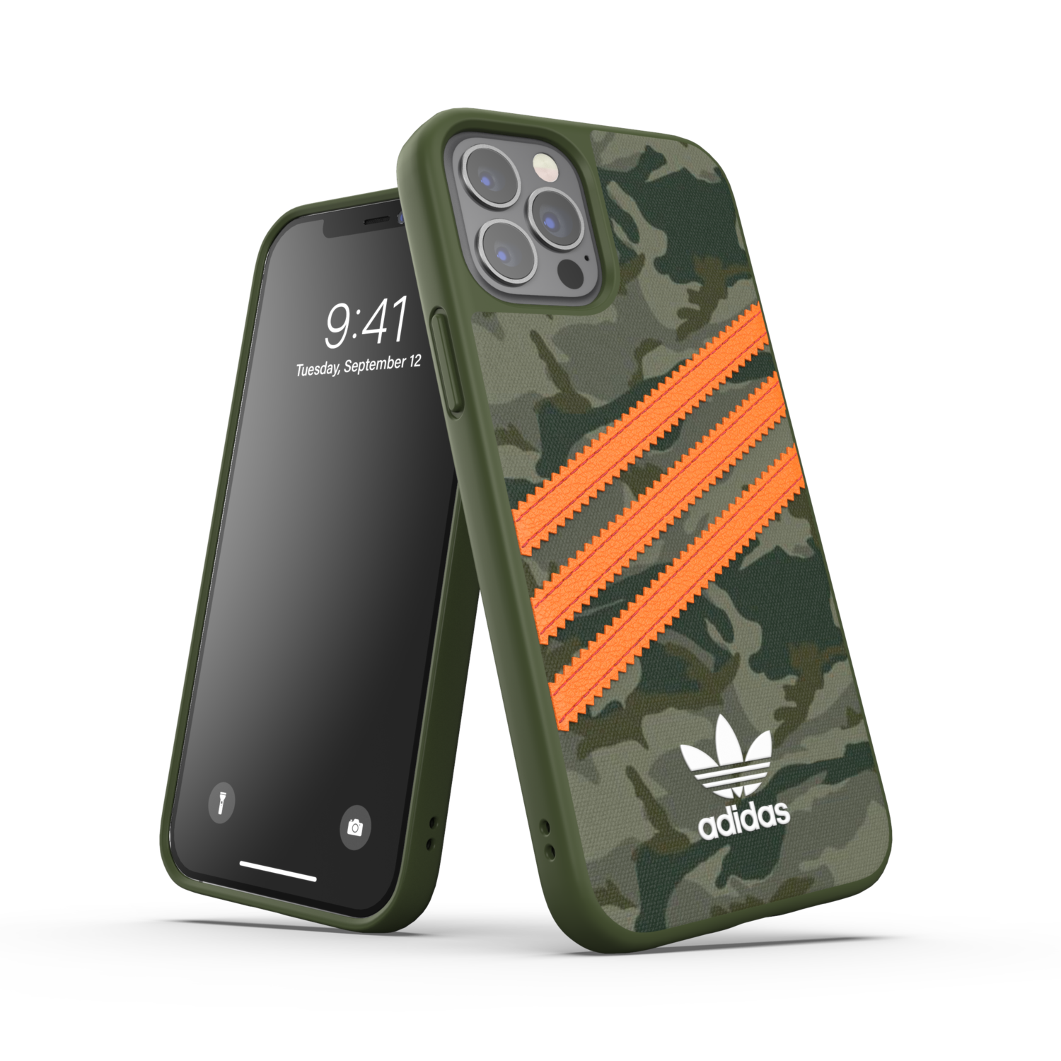 adidas OR Moulded Case PU FW20/SS21 for iPhone 12 / 12 Pro camo patteren/signal orange