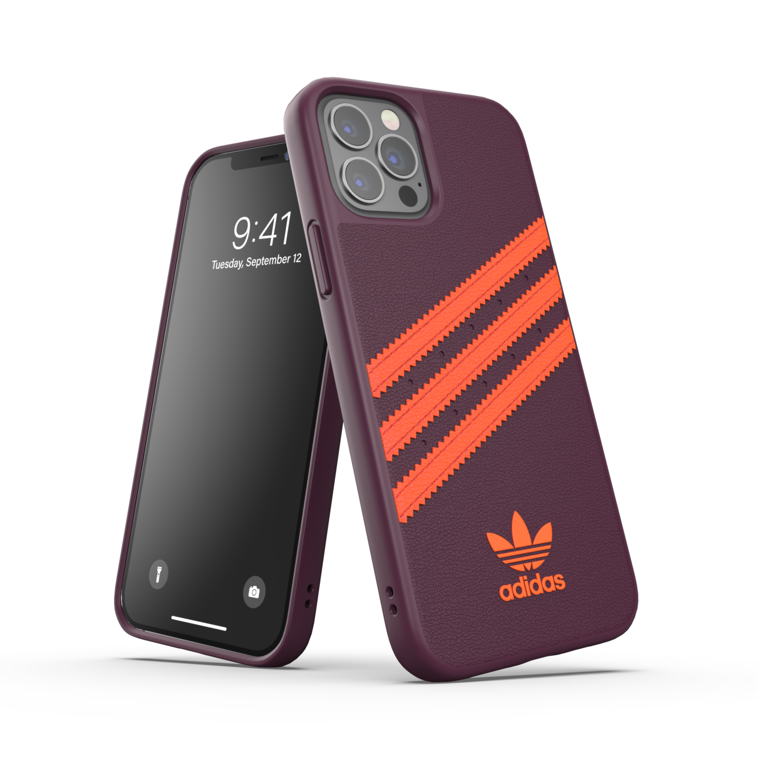 adidas OR Moulded Case PU FW20/SS21 for iPhone 12 / 12 Pro maroon/solar orange