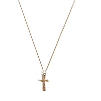 Circa 1930 Rose Gold Engraved Cross Pendant