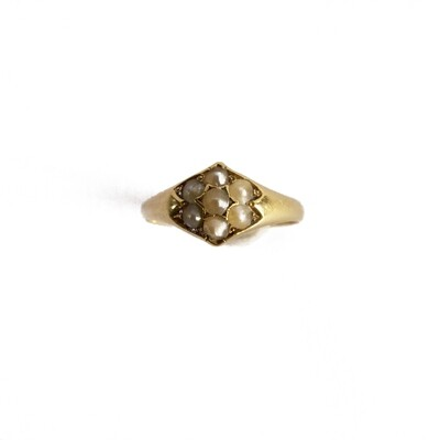 Circa 1900 Gold Pearl Diamond Ring