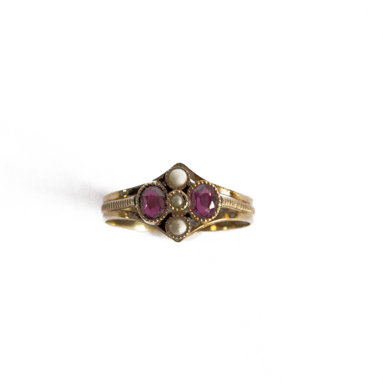 Circa 1905 Almandine Diamond Ring