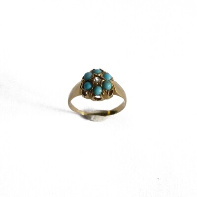 Circa 1905 Turquoise Diamond