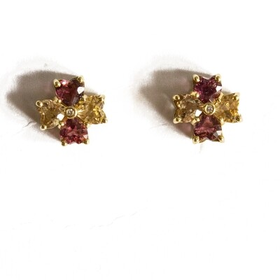 Circa 1980 Pink Topaz Yellow Citrine Diamond