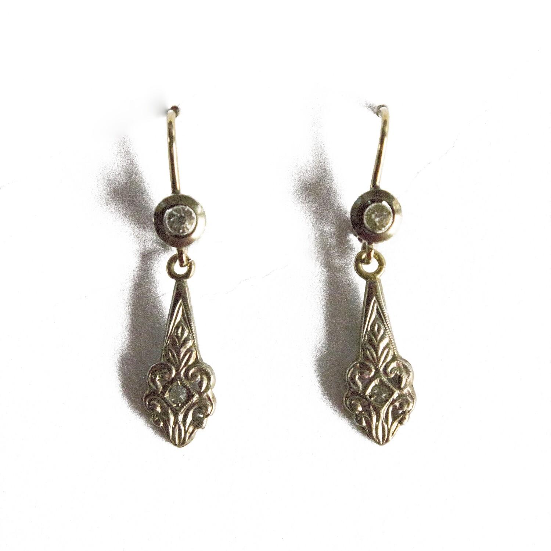 Circa 1915 Gold Diamond Drop Earrings