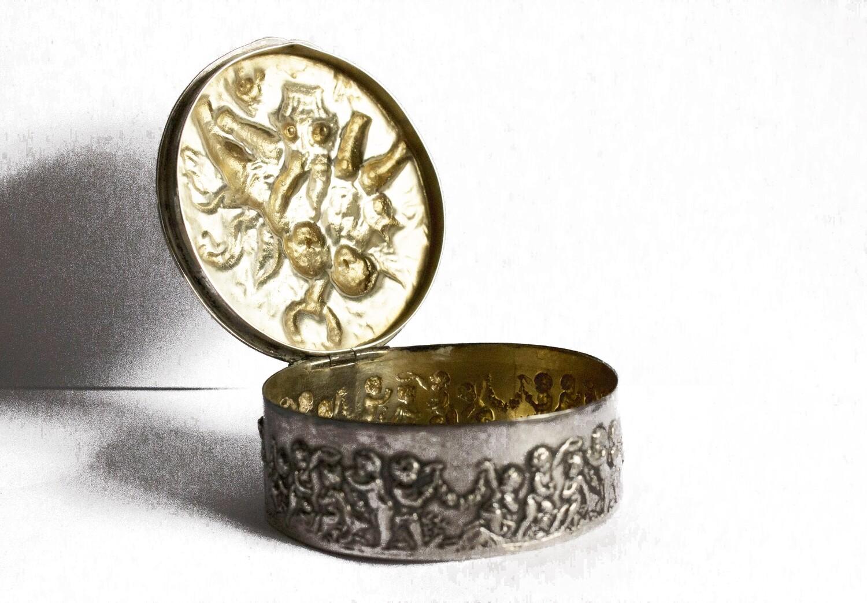Circa 1910 French Silver Repoussé Cherub Box