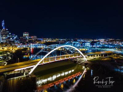 Nashville Nighttime Bridge Photograph (Sideview) Digital Image (full use)