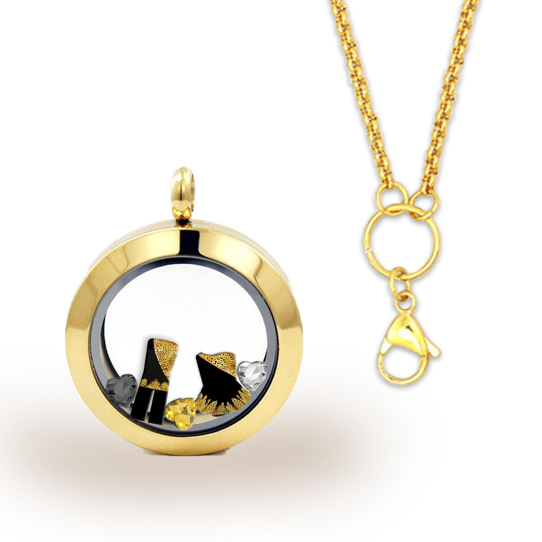 GOLD - Memory Locket  & Chain + Custom  Charm