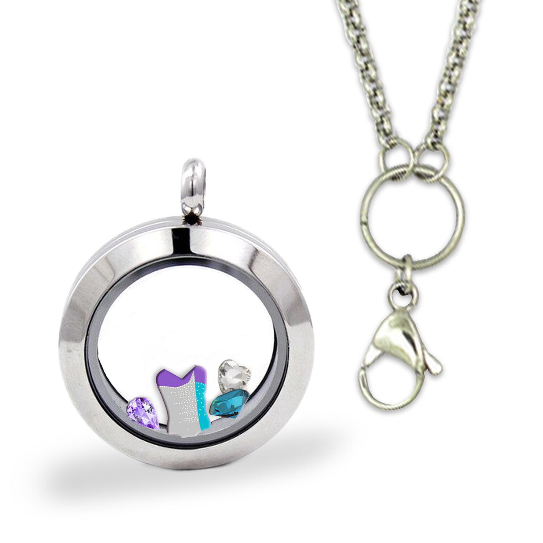 Silver - Memory Locket  & Chain + Custom  Charm