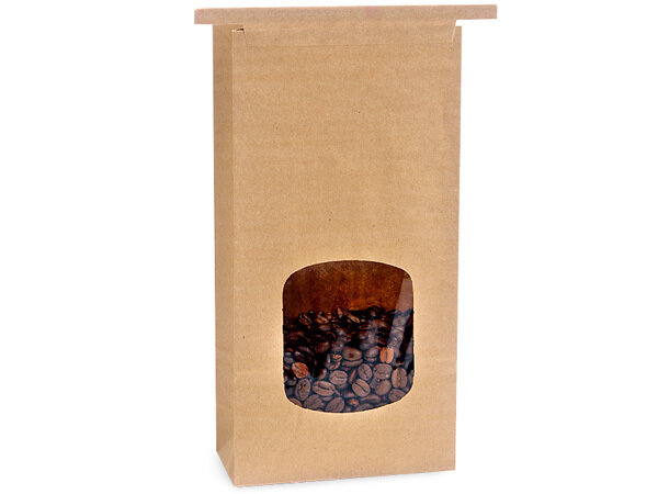 100 PLA Lined 1 lb Window Coffee Bags 4.75x2.5x9.5