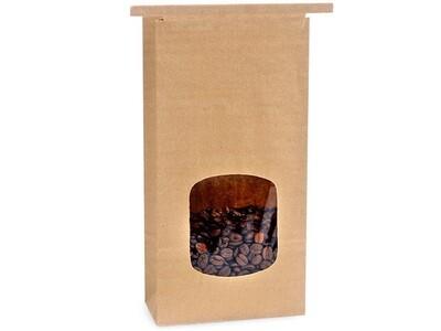 100 PLA Lined 1 lb Window Coffee Bags 4.75x2.5x9.5