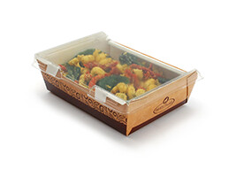 #ReadyFresh Kraft Container with Clear Hinged Lid (Large)