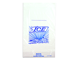 12 X 19 + 4 BG + 1 1/2 LP 1.25 mils Printed 10 lb. Ice Bag on Header -- use with Ice Bagger
