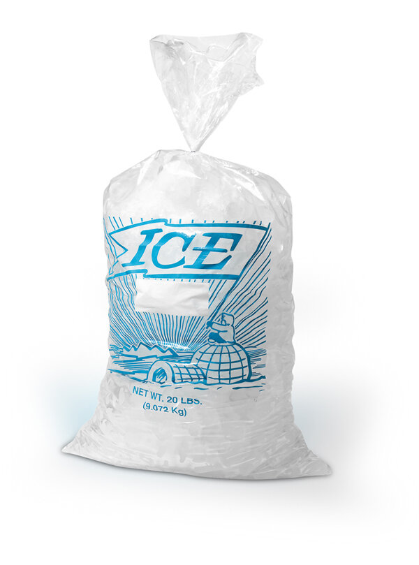 13 1/2 X 28 1.75 mils Printed Metallocene Ice Bag -- 20 lb.