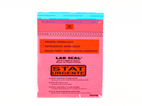 """Specimen Bags Lab Seal®Tamper-Evident with Removable Biohazard Symbol - Red Tint Printed """"STAT"""""""