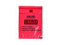 """Lab-Loc® Specimen Bags with Removable Biohazard Symbol Printed """"STAT"""" - Red 6 X 9 1.75 mil 1,000/cs"""