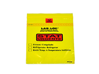 "Lab-Loc® Specimen Bags with Removable Biohazard Symbol Printed ""STAT"" - Yellow 6 X 9 1.75 mil 1,000/cs"