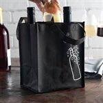 Non-Woven Polypropylene Bag -- Four Bottle Wine Bag  7 X 7 1/2 X 9 1/4 + 7 1/2 BG300/cs