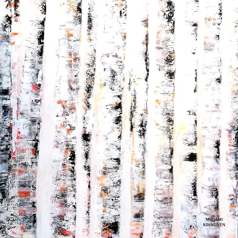 """""""Valkoinen metsä"""", 14,8x14,8cm kortti."""