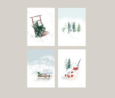 4 kpl korttisetti, neljä erilaista A6 joulukorttia