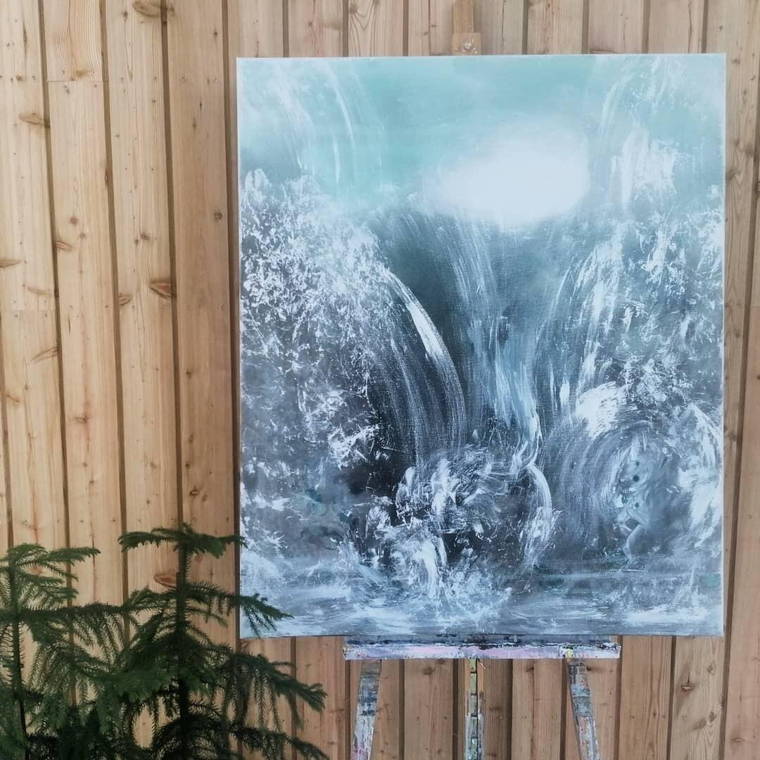 Luonnonvoima, Akryylimaalaus 120x100x3,5cm.