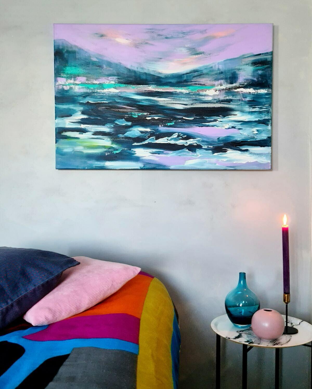 """Jäidenlähtö"", Akryylimaalaus 60x90x4cm."