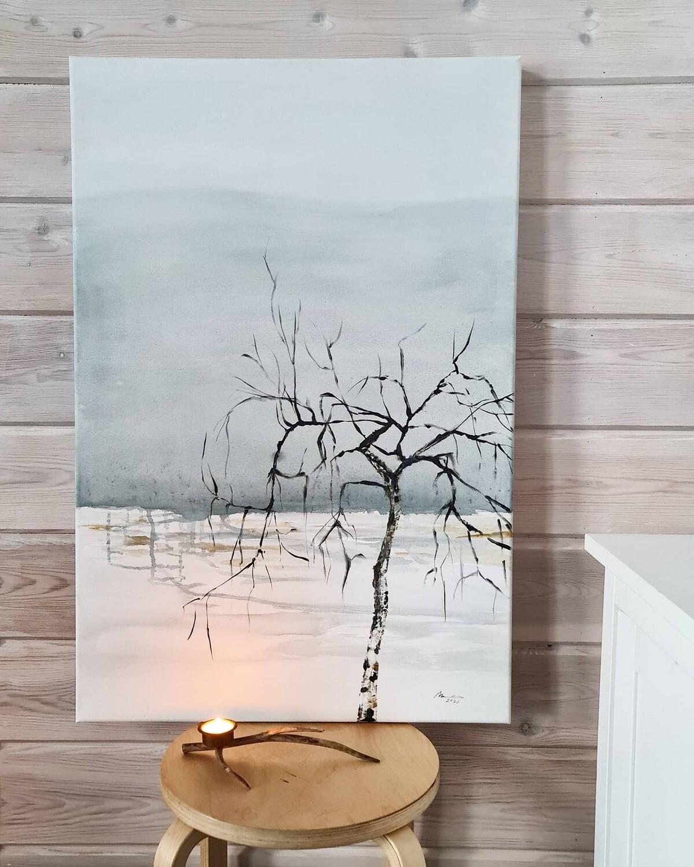 """Hiljaisuus"", Akryylimaalaus 90x60x4cm."