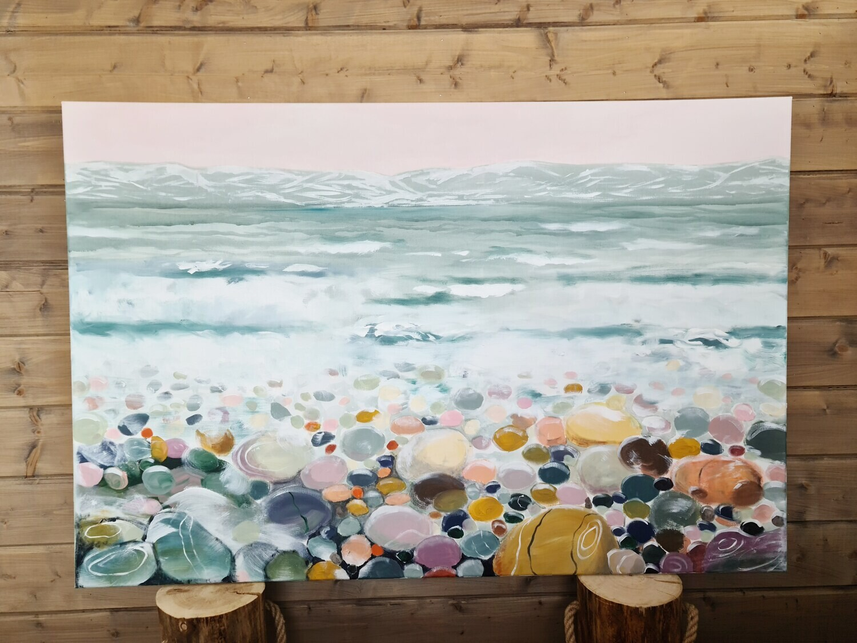 Meren aarteet, Akryylimaalaus 150x140x3cm.