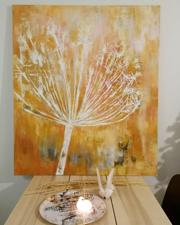 Marraskuun kukka, Akryylimaalaus 120x140x3cm.