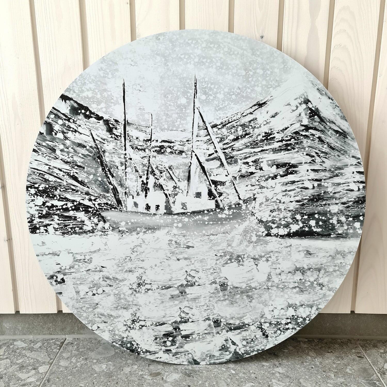 Vanha kalastusalus. Mustavalkoinen alumiinitaulu, painettu, 60cm