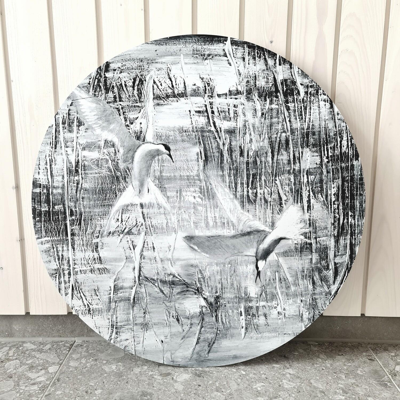 Tiirat. Mustavalkoinen alumiinitaulu, painettu, 60cm