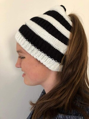 Warm Winter Ponytail Beanie - Black and White