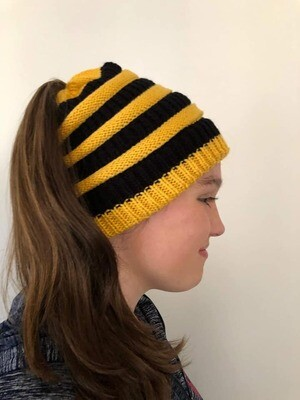Warm Winter Ponytail Beanie - Yellow/Gold and Black
