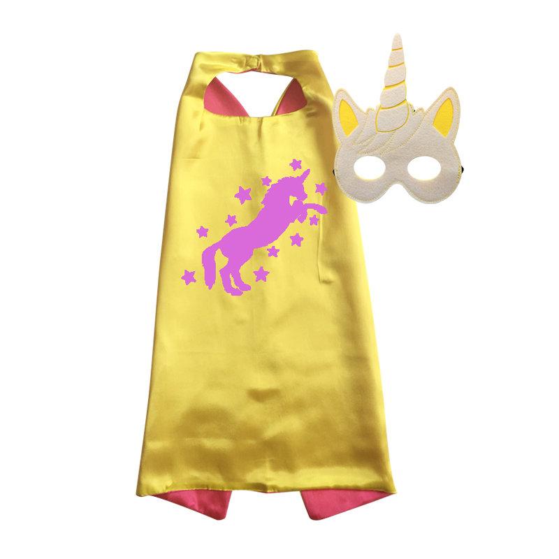 Unicorn Cape and Mask Set Yellow
