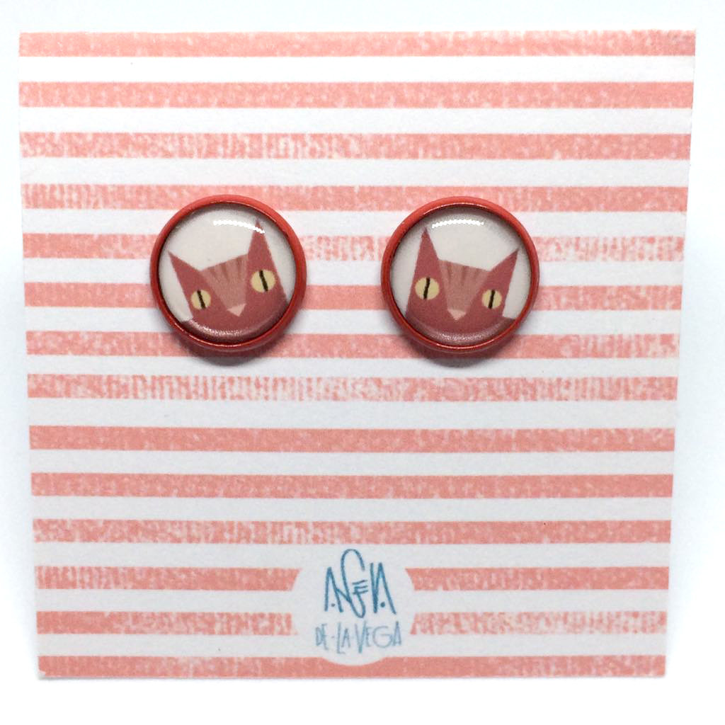 COLOUR EARRINGS. RED CAT