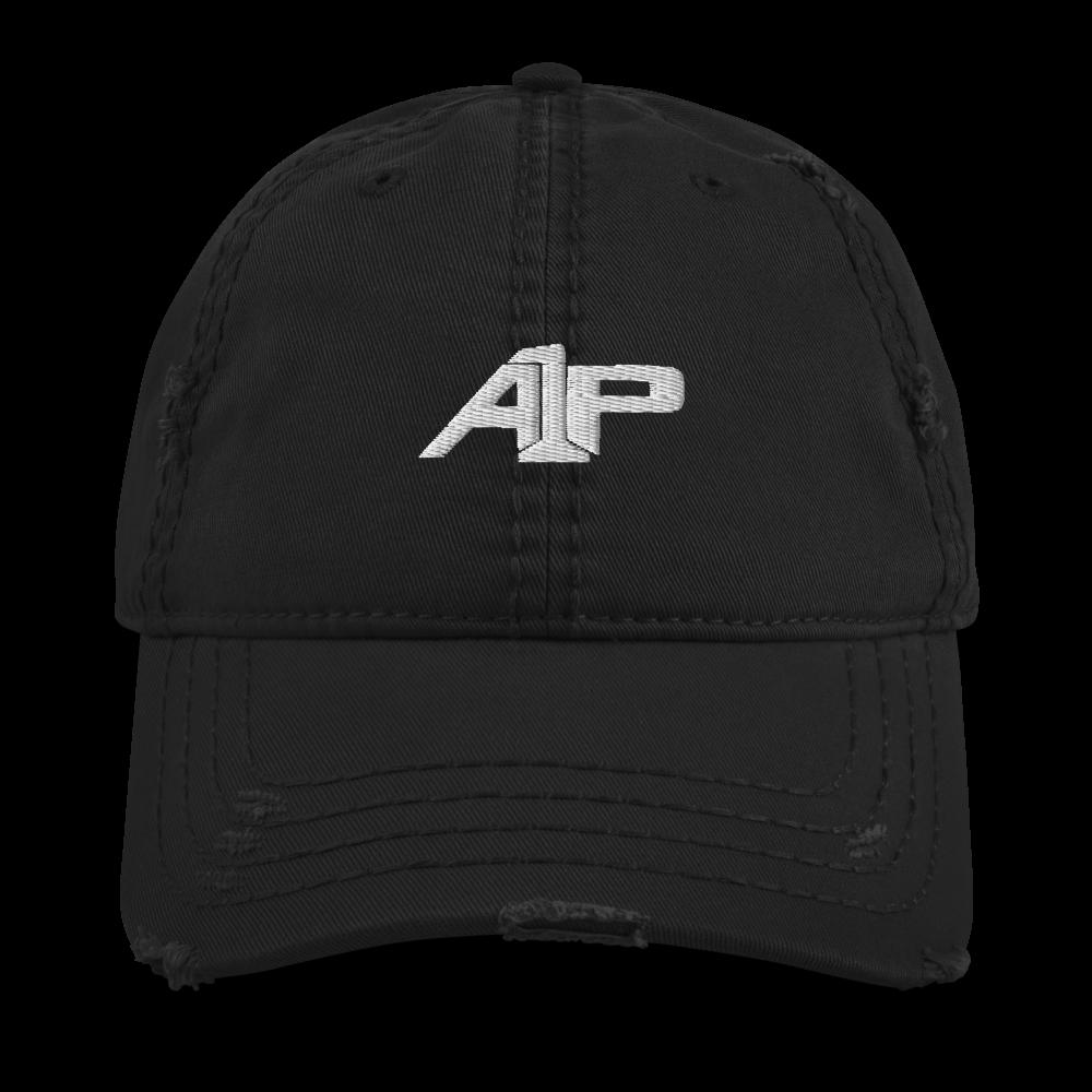 A1P Black Distressed Dad Hat