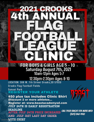 4th Annual Crooks Flag Football League Clinic