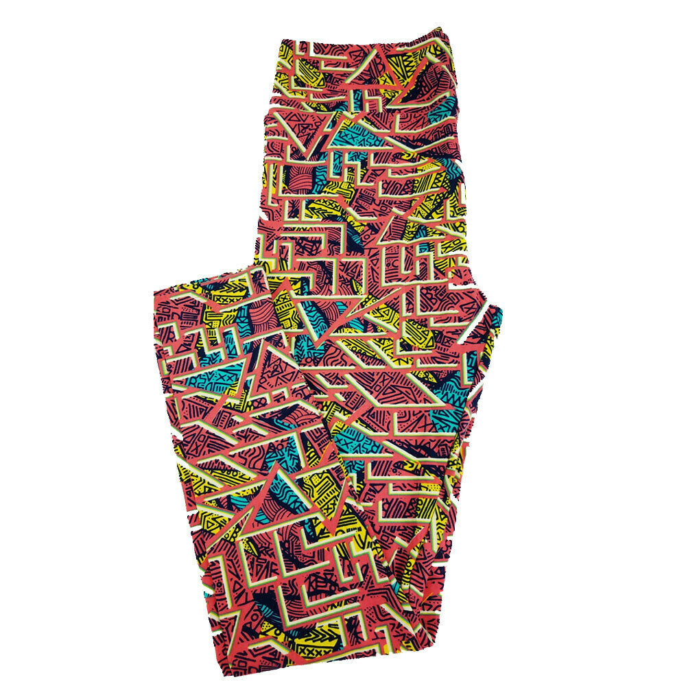 LuLaRoe Tall Curvy TC Peach Yellow Teal Geometric Leggings fits 12-18